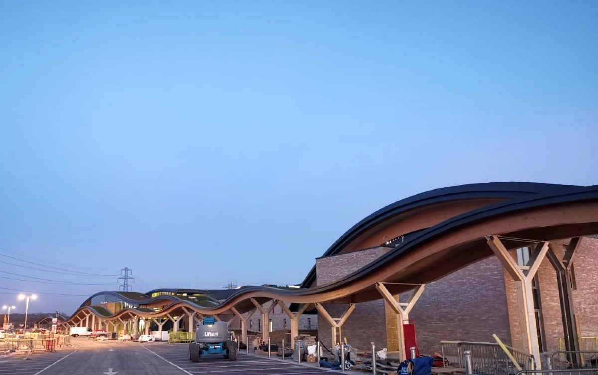 £60m Motorway Services Features Aluminium Fascia Soffits by Dales-eaves