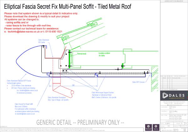 Elliptical fascia with secret fix multi-panel soffit