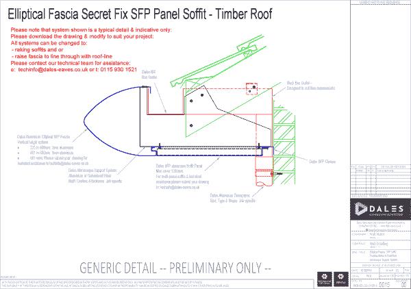 Elliptical fascia with secret fix panel soffit