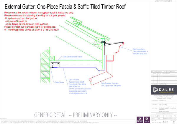 One piece external gutter with plain fascia and soffit