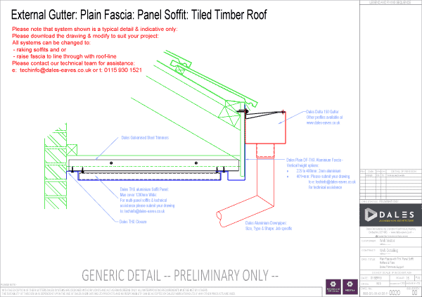 External gutter with plain fascia panel and soffit