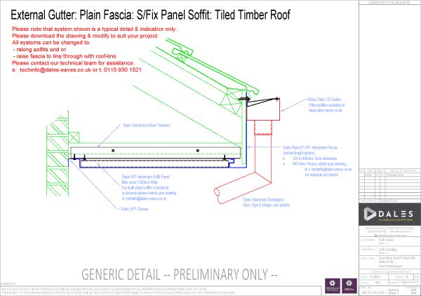 External gutter with plain fascia and secret fix soffit