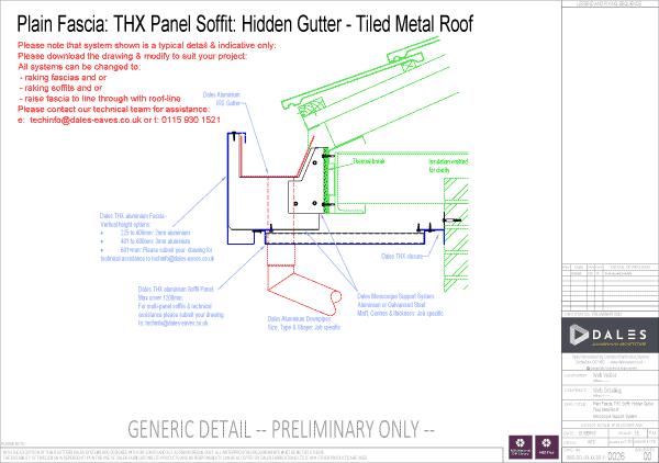 Hidden gutter with plain fascia and THX panel soffit