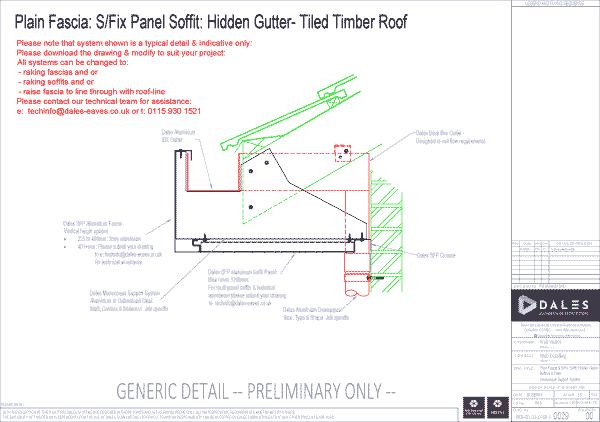 Hidden gutter with plain fascia and secret fix soffit