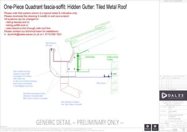 One piece quadrant fascia/soffit