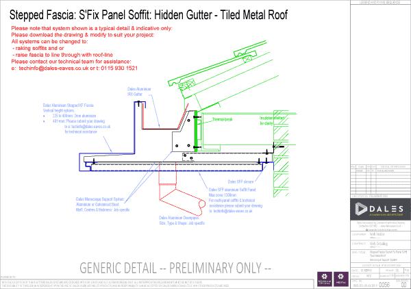 Stepped fascia with secret fix panel soffit