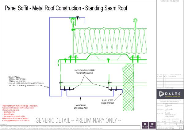 Verge – Standing seam roof panel soffit