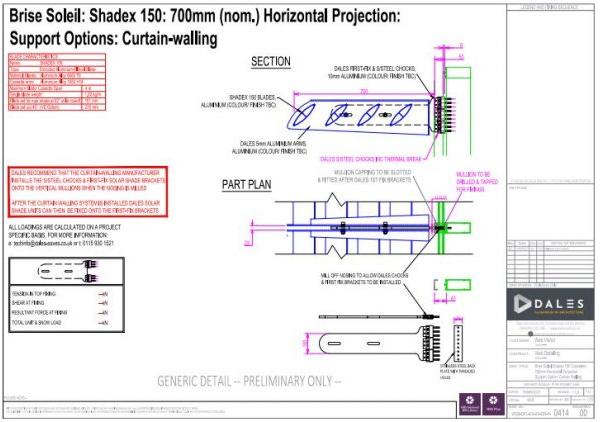 0414 Brise Soleil 700mm Horizontal Projection