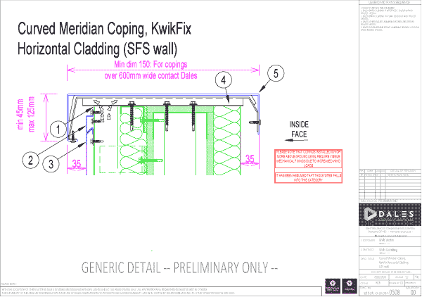 Curved Meridian coping with KwikFix horizontal cladding (SFS wall)