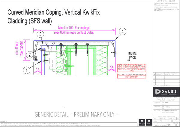 Curved Meridian coping with KwikFix vertical cladding (SFS wall)
