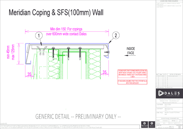 Meridian coping with 100mm SFS wall