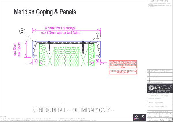 Meridian coping and panels