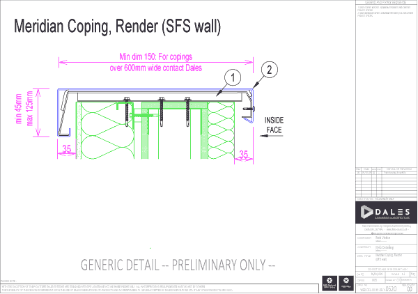 Meridian coping with render (SFS wall)