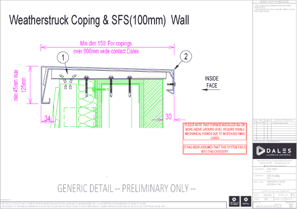 Weatherstruck coping with 100mm SFS Wall