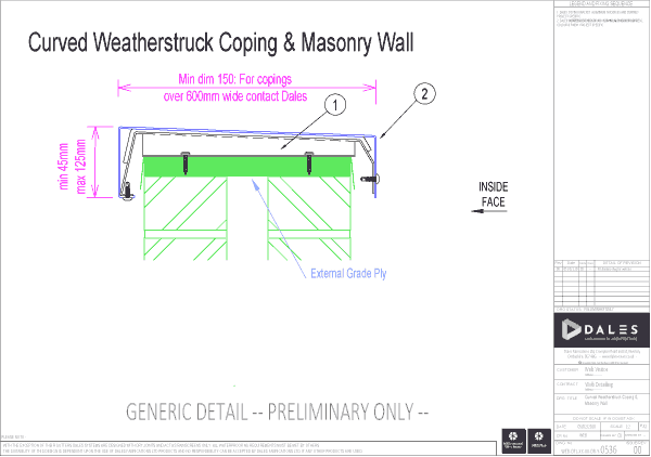 Curved Weatherstruck coping with masonry wall (ply)