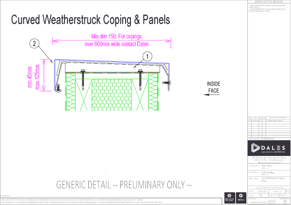Curved Weatherstruck coping and panels