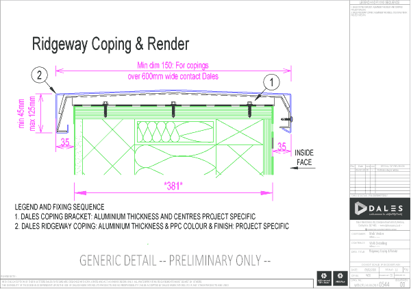 Ridgeway coping with render