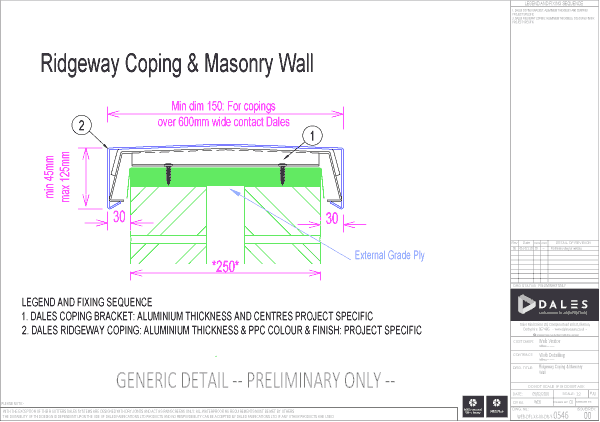 Ridgeway coping with masonry wall (ply)