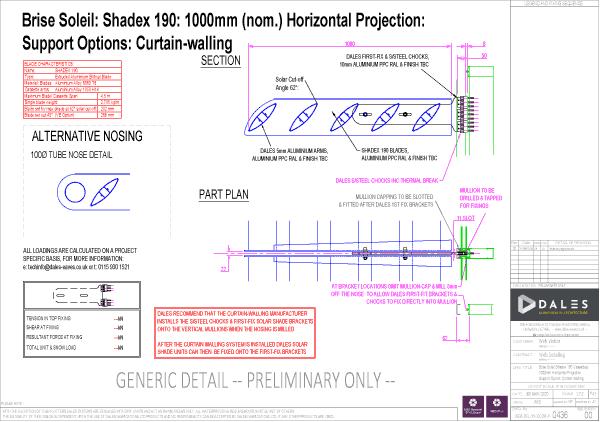 Brise Soleil 1000mm horizontal projection